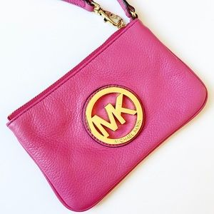 Michael Kors Bright Pink Fulton Wristlet Zip Top